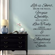 Life is Short Break the Rules ~ Wall sticker / decals